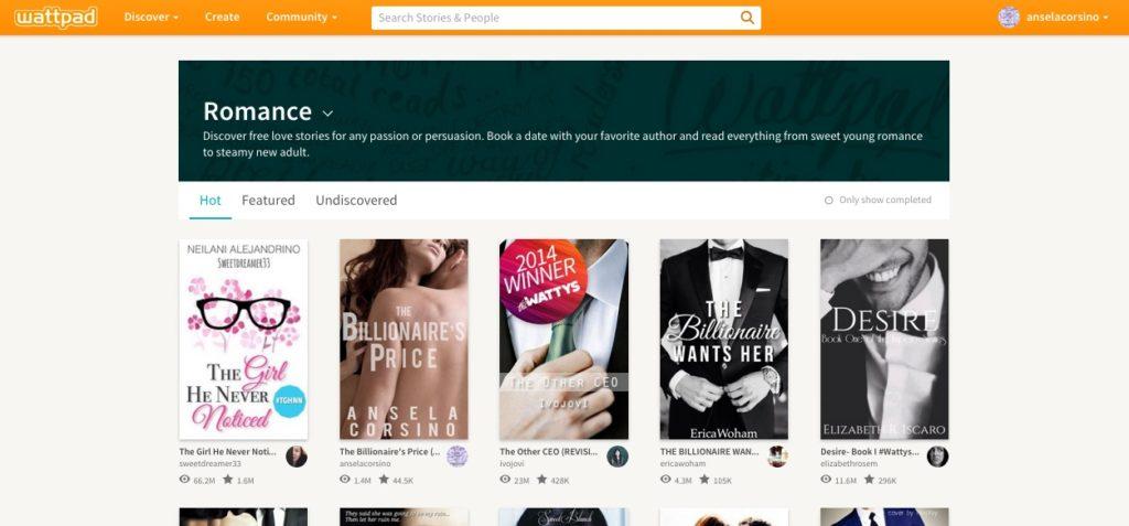 The Billionaire's Price #4 in WATTPAD Romance HOT List